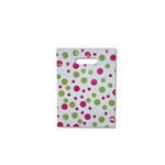 "Fiesta Dots on White - Designer Plastic Bags Petite 9"" x 11.5"" x 2"" 500 Bags - 2.9 mil thickness"