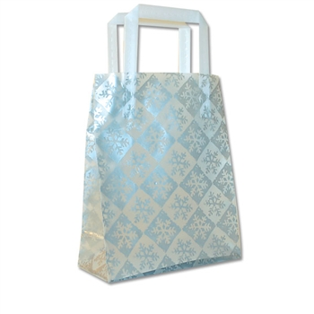 Frosted Petite Reusable Silver Snowflake Check Bags
