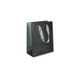 "London Paper Shopping Bags - 8"" x 4"" x 10"" Gloss Pewter - 100/Pack"