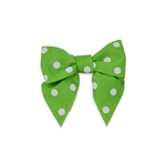 Pre-Tied Dots Grosgrain Twist Tie Bows - Apple Green