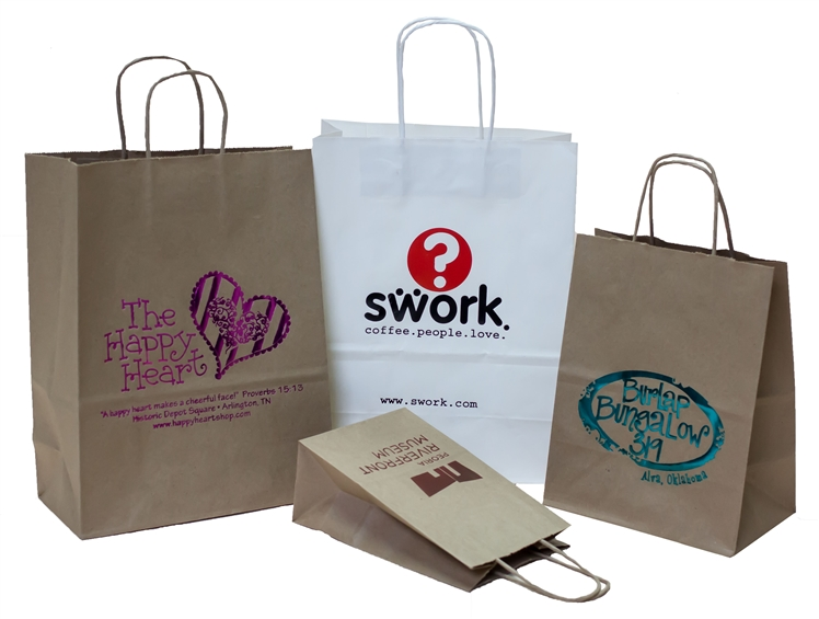 Wholesale Kraft Paper Shopping Bags - 100% Recycled - Canada